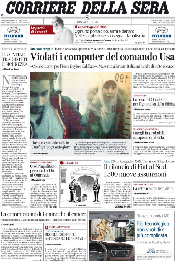 corriere della sera violati computer usa