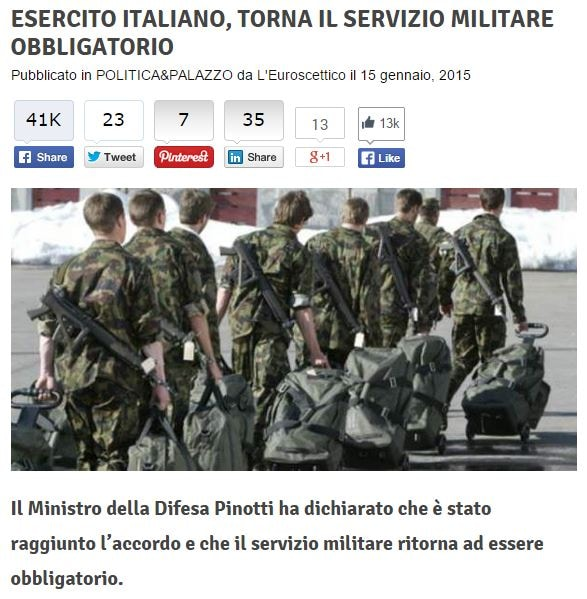 La bufala del servizio militare obbligatorio