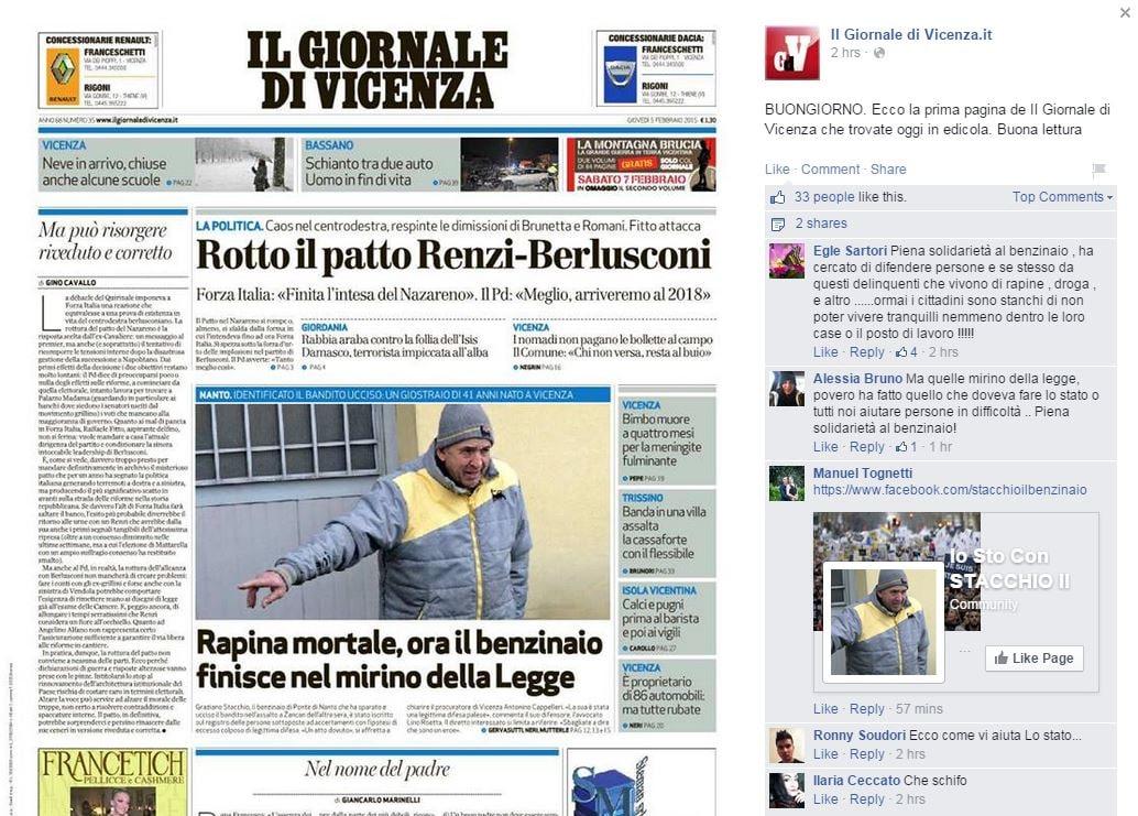 Il Giornale di Vicenza sulla rapina di Ponte di Nanto