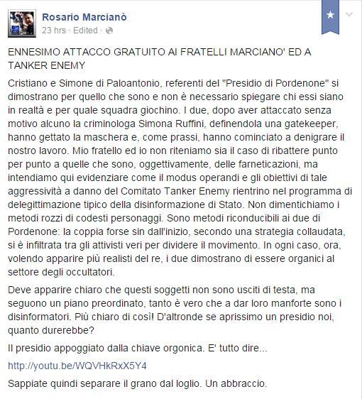 Attacco gratuito? Ma siamo impazziti? Come minimo servono 20 euro per poter attaccare  Marcianò. (fonte: Facebook.com)