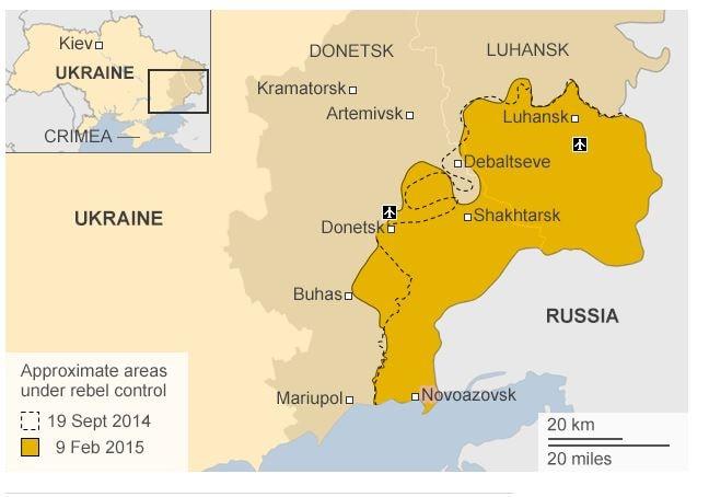 La situazione prima degli accordi di Minsk di oggi (fonte: bbc.com)
