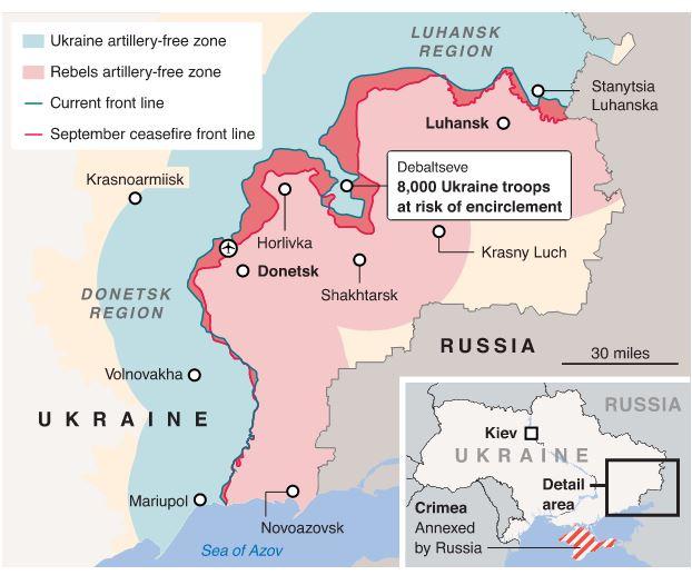 La situazione Ucraina dopo Minsk-2 (fonte: telegraph.co.uk)