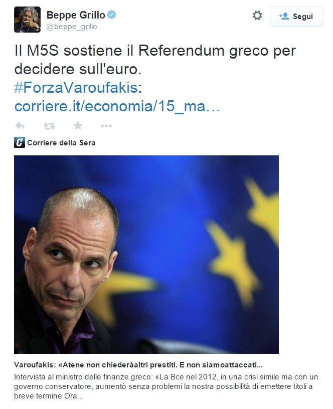 beppe grillo referendum euro varoufakis