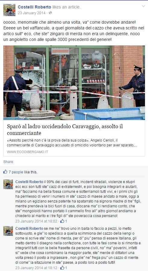 Ordinario razzismo da Facebook (e immancabili insulti alla Kyenge) (fonte: Facebook.com)