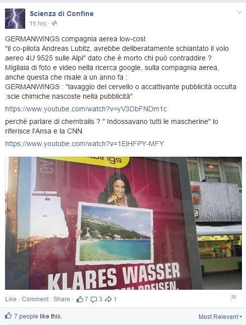 In un poster della Germanwings pubblicità occulta alle scie chimiche  (nel senso che si vedono delle nuvolette eh)