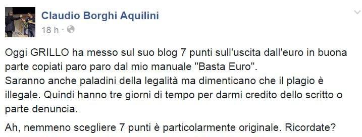 beppe grillo claudio borghi sette punti euro 1
