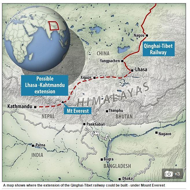 Un possibile tracciato della ferrovia per collegare Cina e Nepal (fonte: dailymail.co.uk)