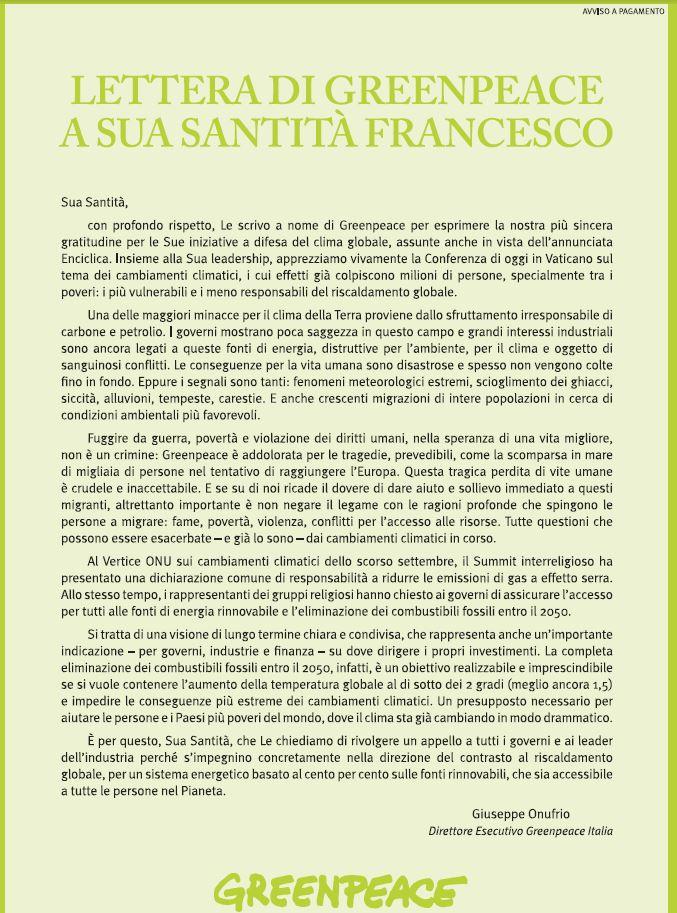 greenpeace lettera papa francesco