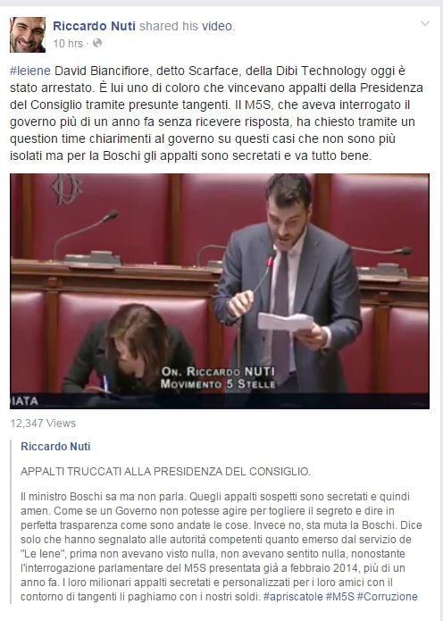 Il post di Nuti sulla vicenda Scarface (fonte: Facebook.com)