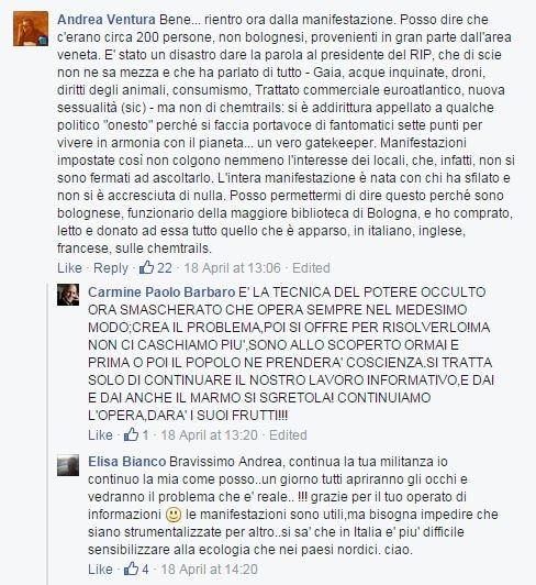 Alcuni commenti sulla pagina del presidio di Pordenone