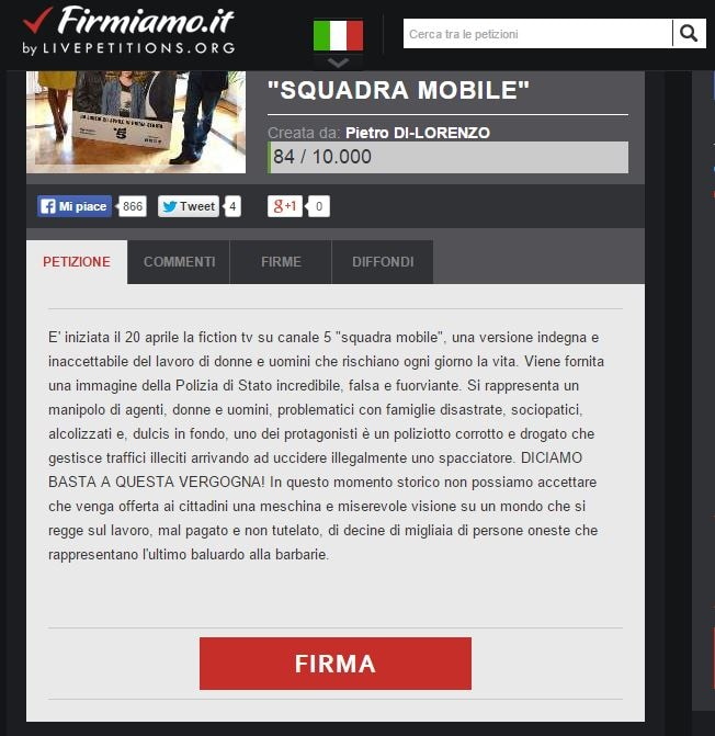 squadra mobile petizione canale 5
