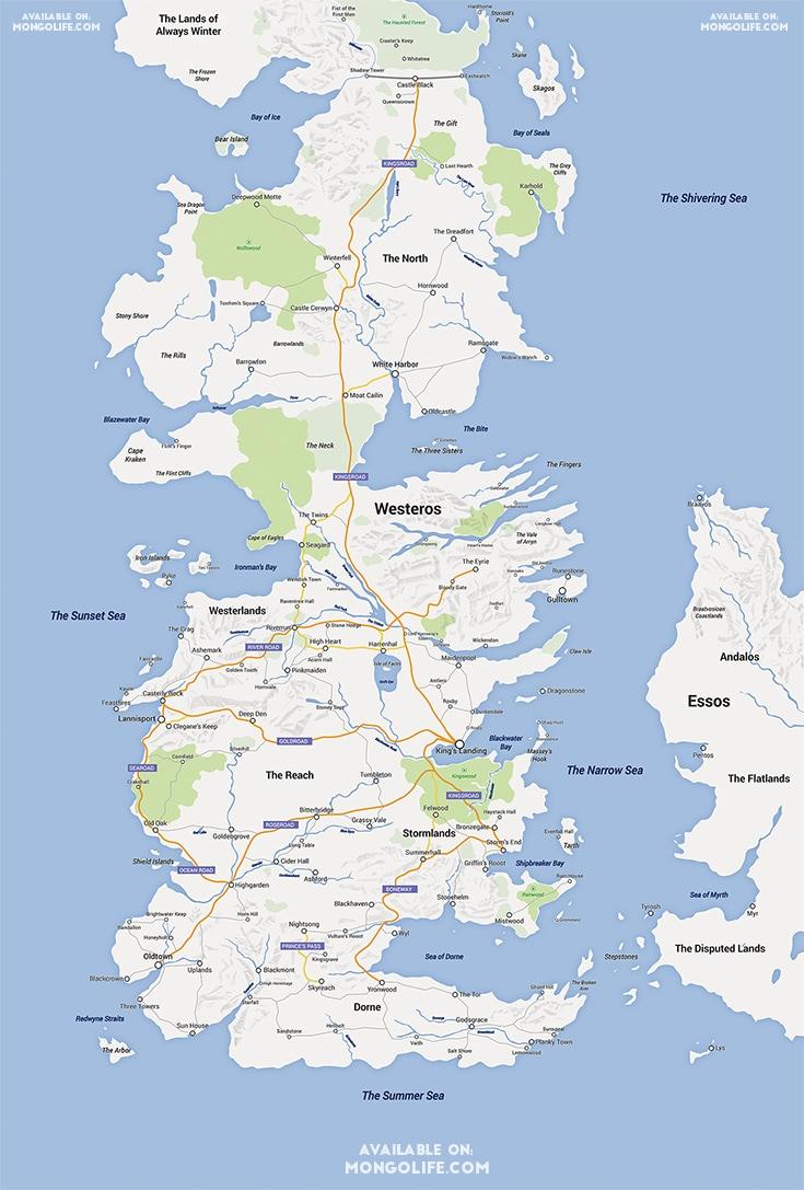 La mappa di Westeros in stile Google Maps (Selvag via Reddit.com)