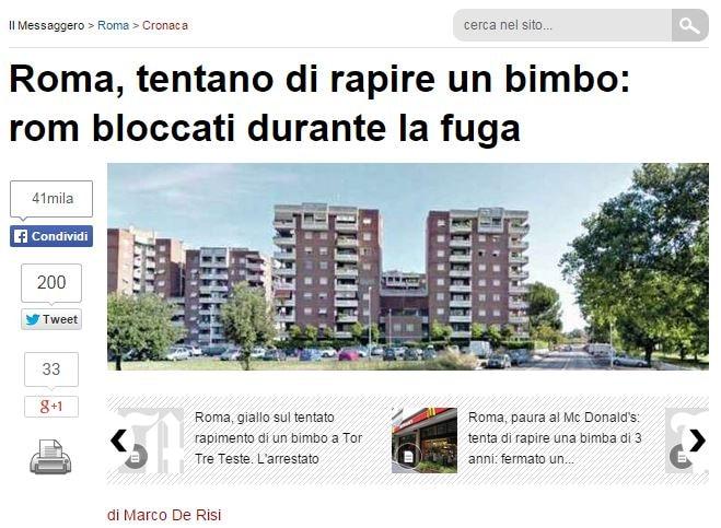 Ed è subito ofio contro i Rom (fonte: ilmessaggero.it)