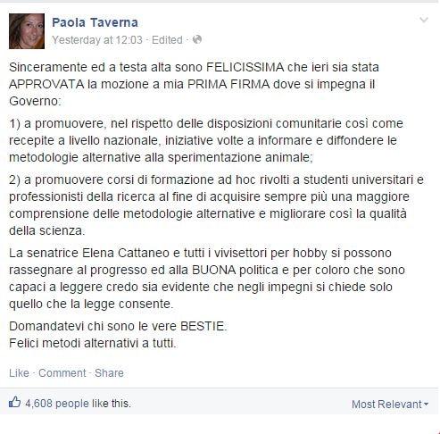 L'annuncio di Paola Taverna su Facebook