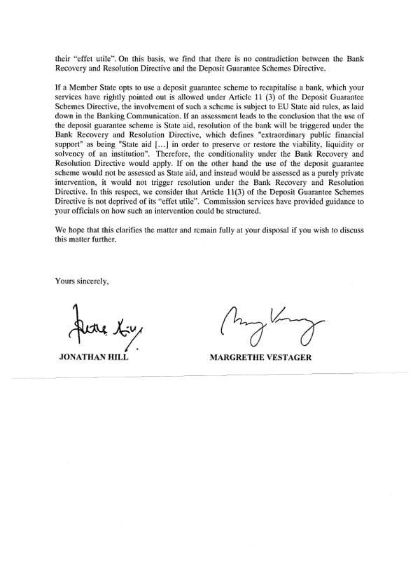 La lettera di hill e vestager al governo italiano for Sito governo italiano