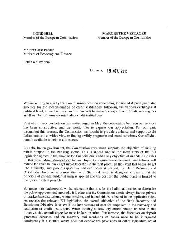 la lettera di hill e vestager al governo italiano