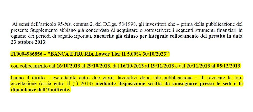 obbligazioni subordinate prospetto supplemento banca etruria 3