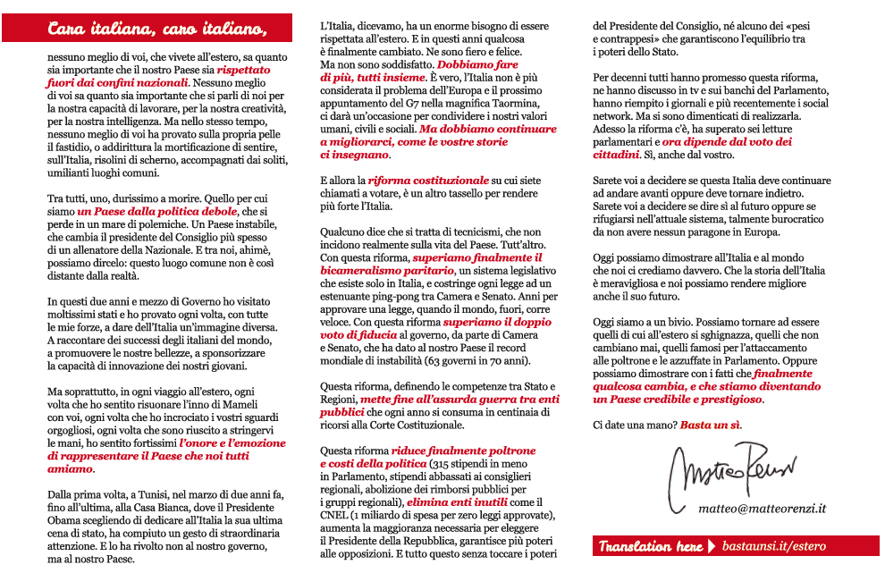 lettera italiani estero matteo renzi referendum