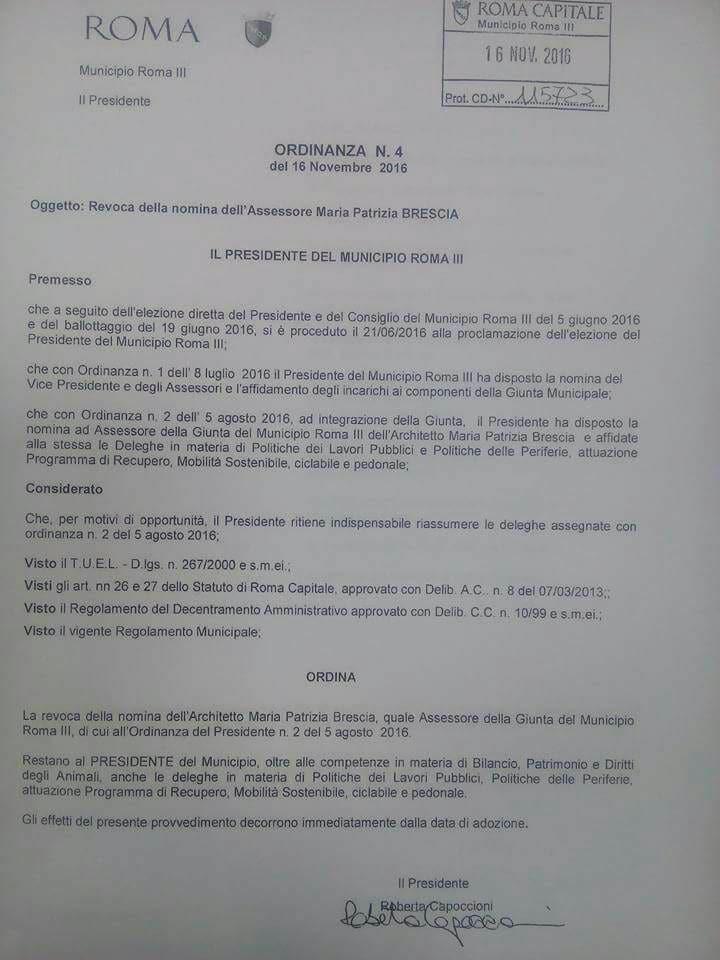 patrizia brescia terzo municipio revoca dimissioni