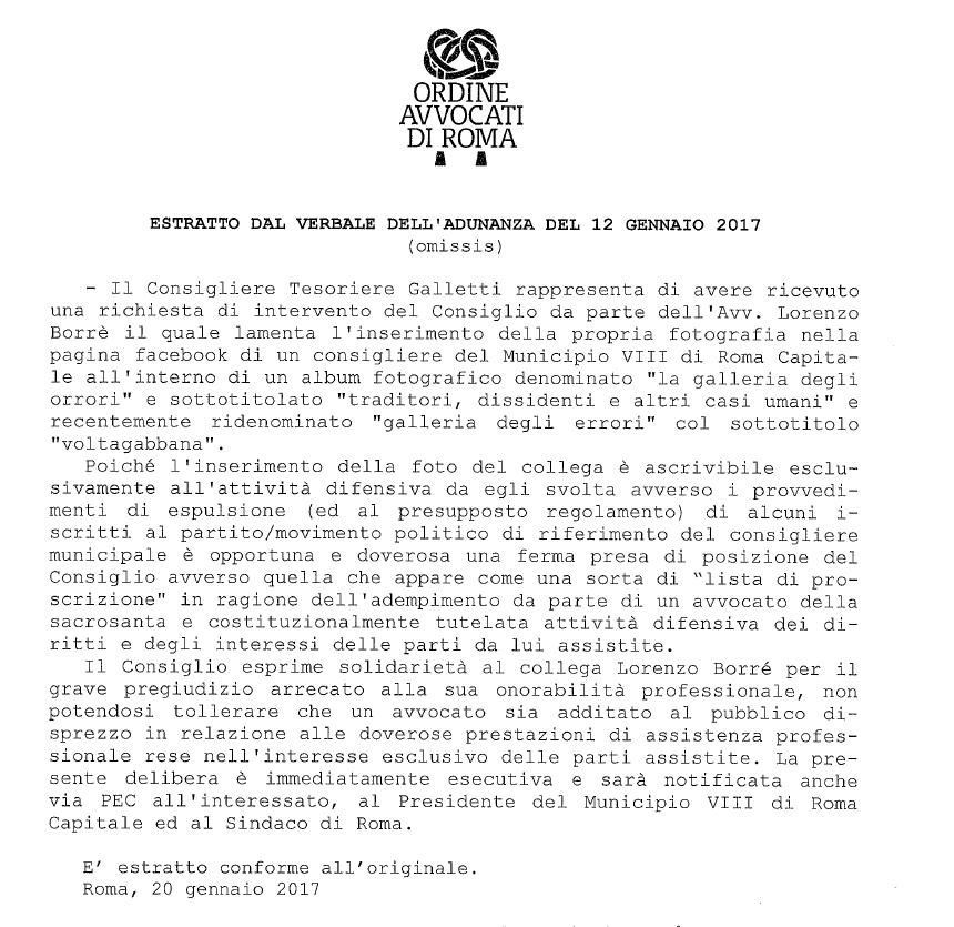 lorenzo borrè lista proscrizione m5s morosini ordine avvocati