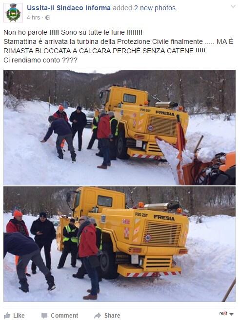 turbina ussita ferma catene neve protezione civile terremoto soccorsi