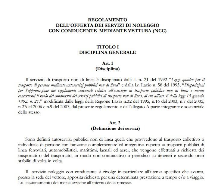 ncc uber m5s regolamento città metropolitana roma - 1