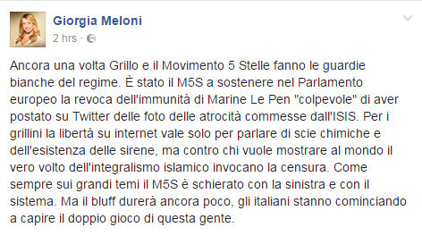 iorgia Meloni immunità Marine Le Pen