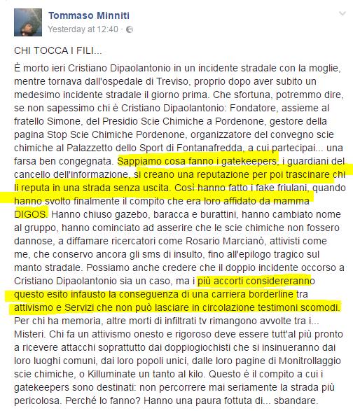 Tommaso Minniti cristiano di paolantonio scie chimiche pordenone complotto morte - 2