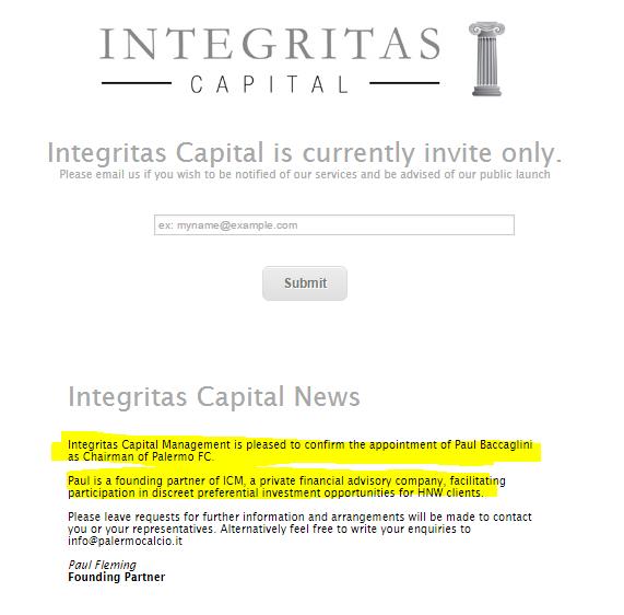 baccaglini palermo calcio integritas capital fondo - 1