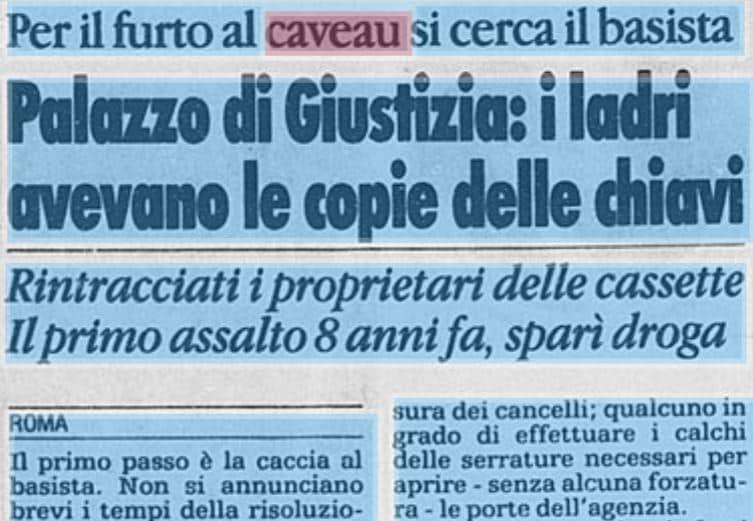 massimo carminati furto caveau banca roma 1