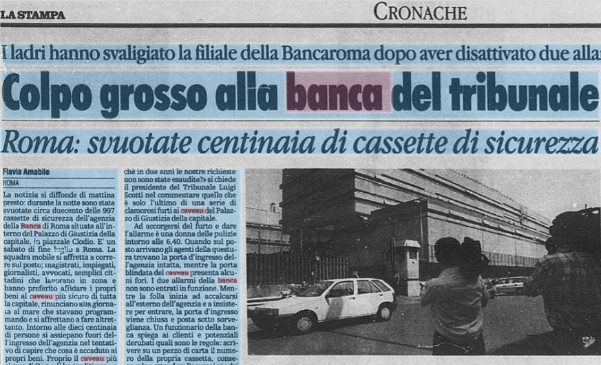 massimo carminati furto caveau banca roma