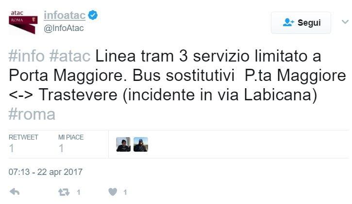 atac scontro tram