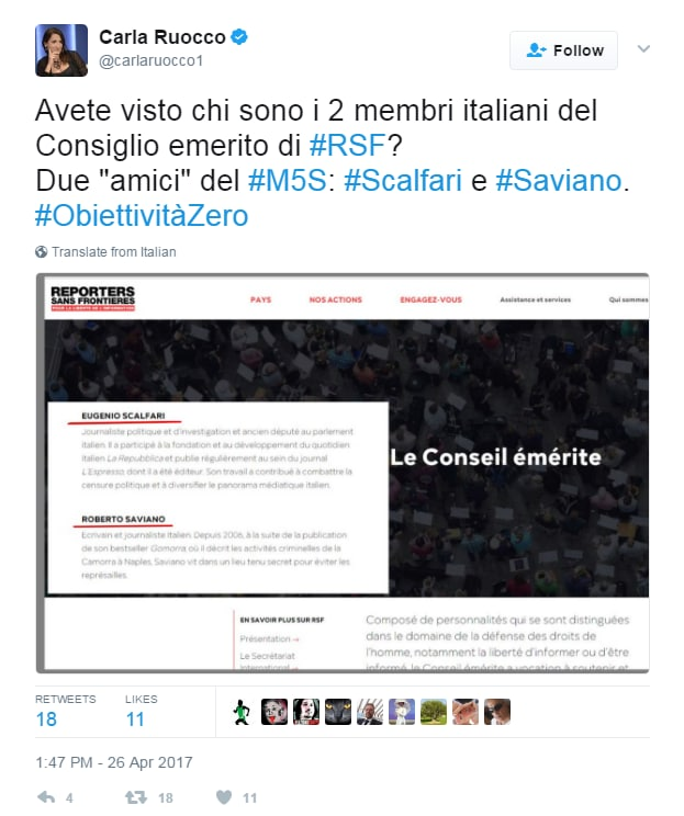 beppe grillo libertà di stampa classifica reporter sans frontieres 2017 - 4