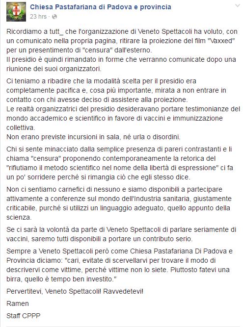 vaxxed padova censura pastafariani - 5