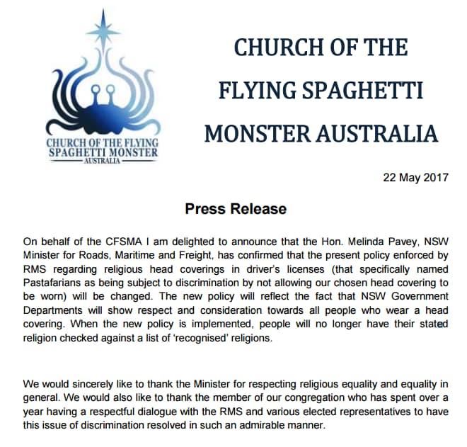 chiesa pastafariana australia - 2