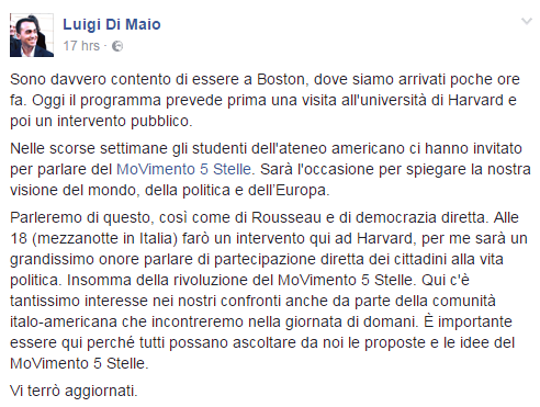 luigi di maio harvard incontro video - 2