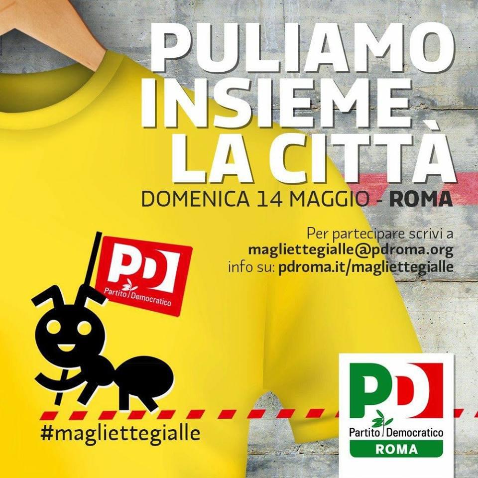 magliette gialle pd roma