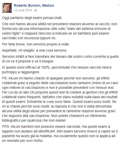 esami prevaccinali test antivax burioni - 1