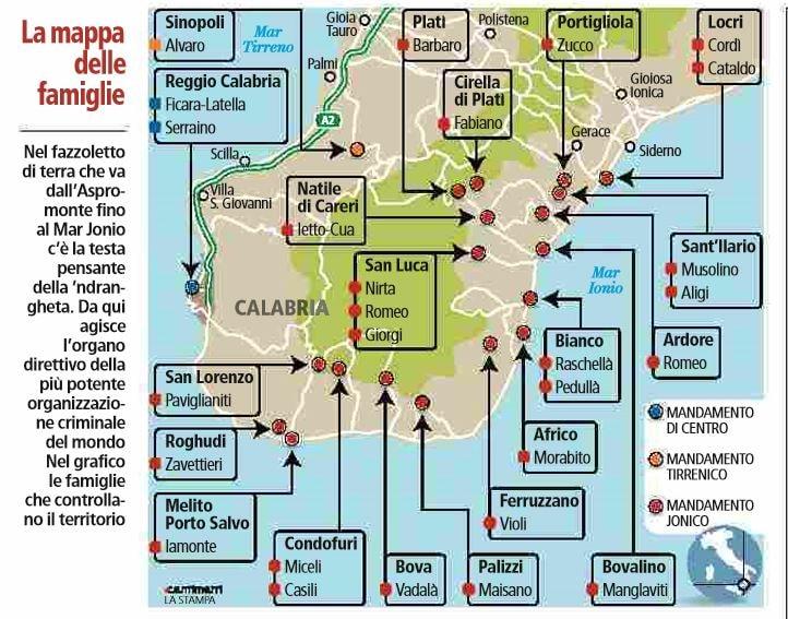 La mappa delle famiglie di  ndrangheta in Calabria  c3bcd4f7fd60