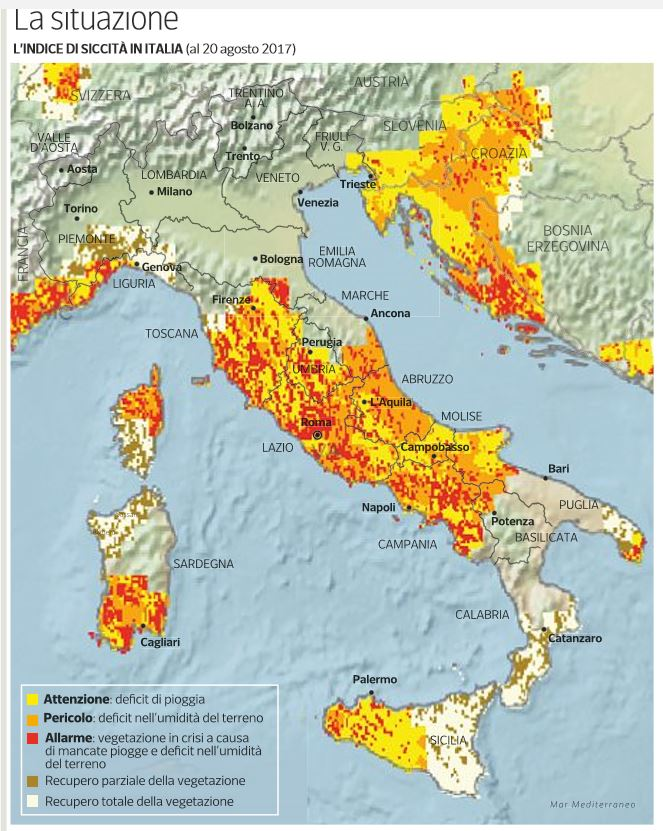indice siccità in italia