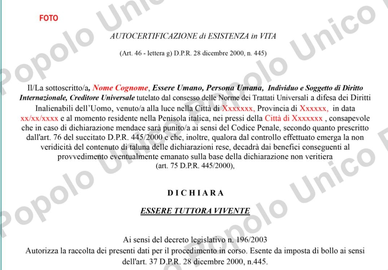 popolo unico stato corporation italia autocertificazione - 3