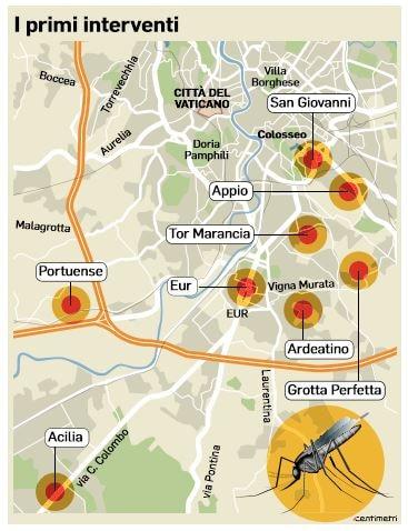 chikungunya zanzara infetta zone a rischio roma