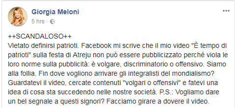 giorgia meloni video censurato Facebook - 4