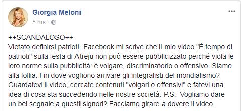 giorgia meloni video censurato Facebook - 4