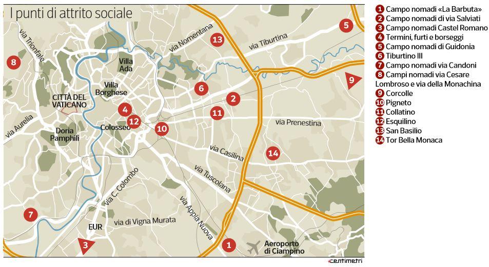 mappa luoghi pericolosi roma