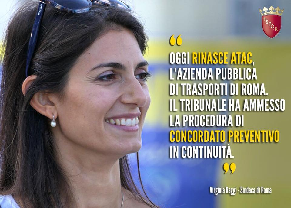 virginia raggi concordato preventivo atac