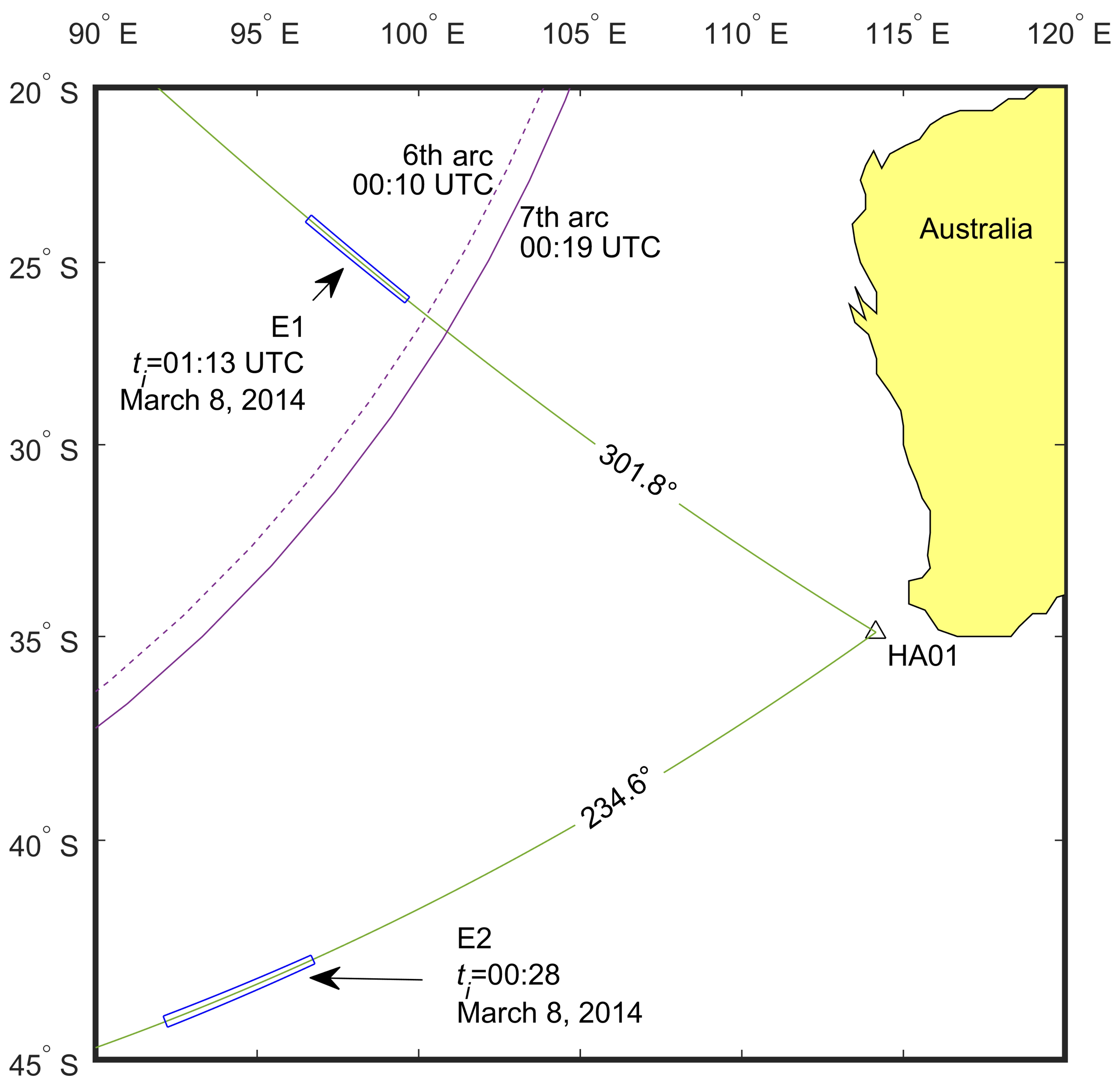 Malaysian Airlines MH370 ricerca onde sonore mappa -2