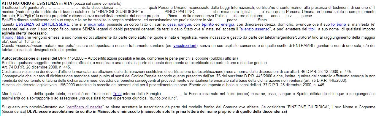 atto di nascita popolo unico stato italia corporation - 2