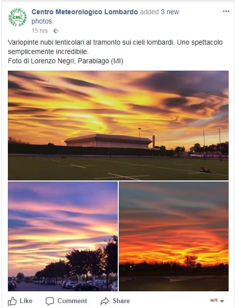 tramonto chimico inquinamento scie chimiche nubi lenticolari - 1