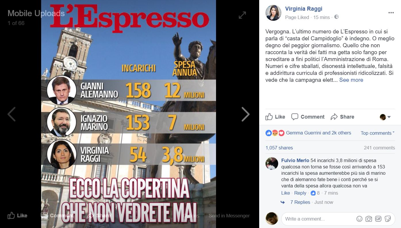 virginia raggi post su facebook 1